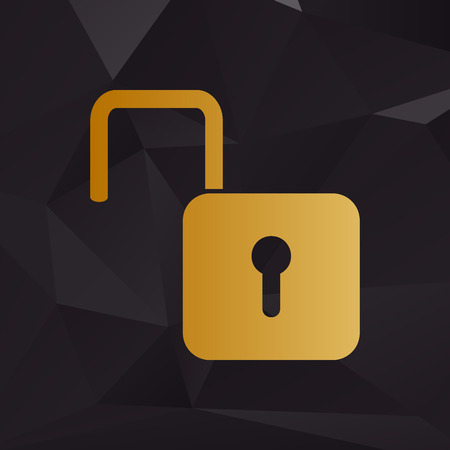 unlock: Unlock sign illustration. Golden style on background with polygons. Illustration