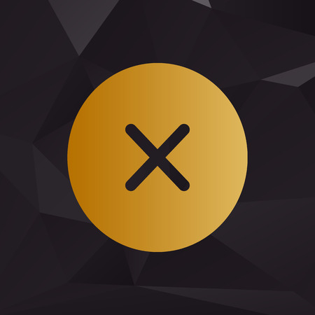 voted: Cross sign illustration. Golden style on background with polygons.