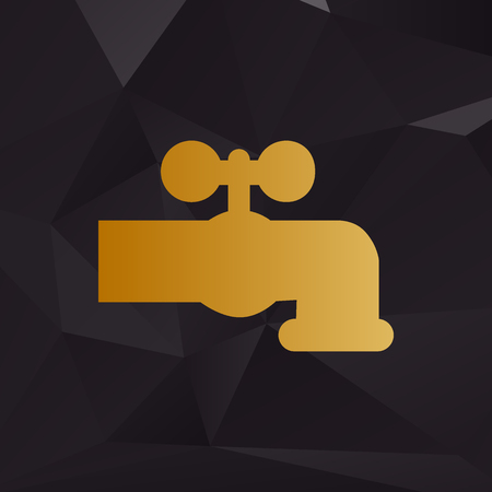 switcher: Water faucet sign illustration. Golden style on background with polygons.