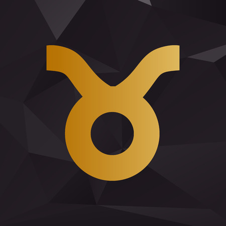 ecliptic: Taurus sign illustration. Golden style on background with polygons.