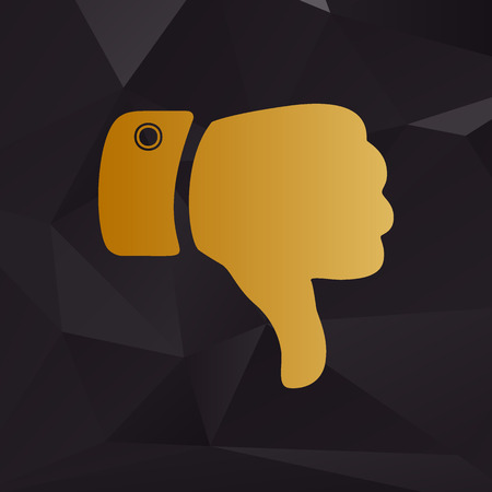 disapprove: Hand sign illustration. Golden style on background with polygons.