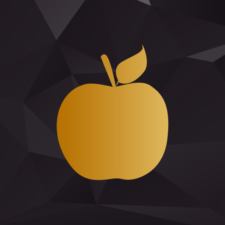 golden apple: Apple sign illustration. Golden style on background with polygons.