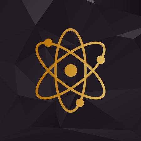Atom sign illustration. Golden style on background with polygons. Illustration