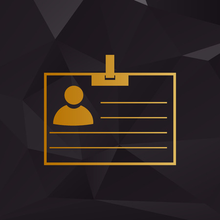 recognizing: Id card sign. Golden style on background with polygons. Illustration