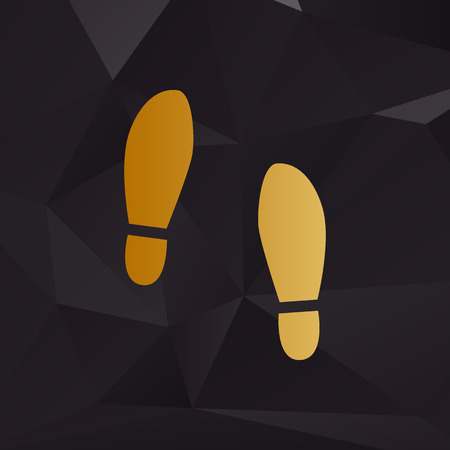 shoeprint: Imprint soles shoes sign. Golden style on background with polygons. Illustration