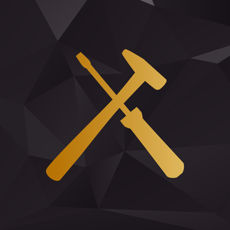 Tools sign illustration. Golden style on background with polygons. Çizim