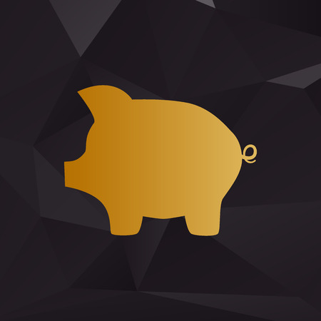 moneyed: Pig money bank sign. Golden style on background with polygons.