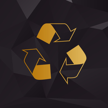 recycle logo: Recycle logo concept. Golden style on background with polygons. Illustration