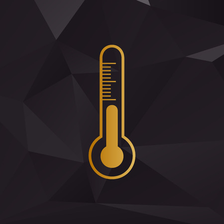 meteo: Meteo diagnostic technology thermometer sign. Golden style on background with polygons.
