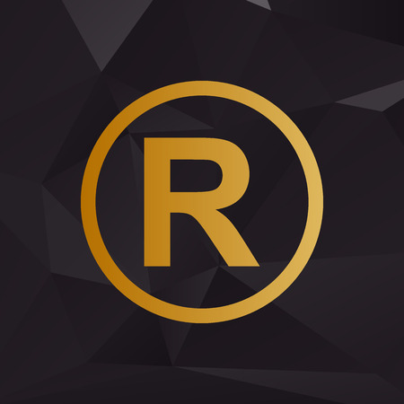 dispensation: Registered Trademark sign. Golden style on background with polygons.