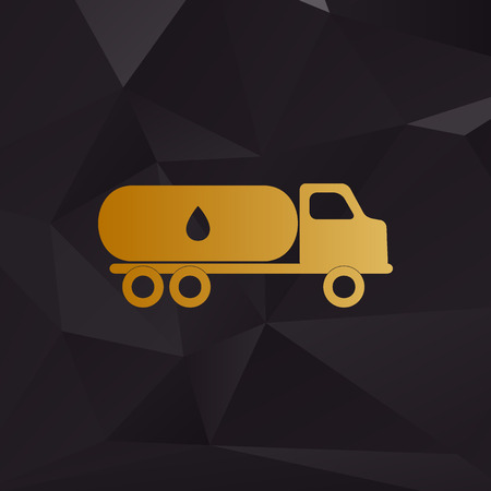 toxic substance: Car transports Oil sign. Golden style on background with polygons.