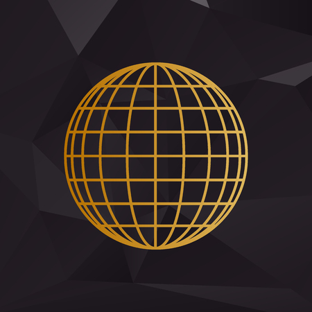 golden globe: Earth Globe sign. Golden style on background with polygons.