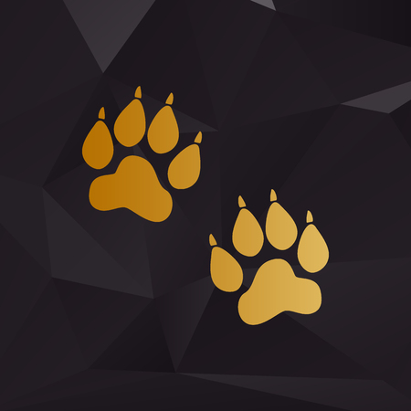 huellas de animales: Animal Tracks sign. Golden style on background with polygons.