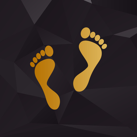 alibi: Foot prints sign. Golden style on background with polygons.