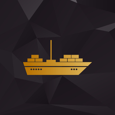 ship sign: Ship sign illustration. Golden style on background with polygons.