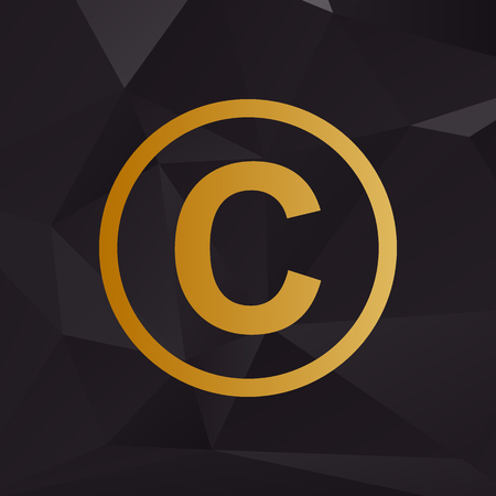 duplication: Copyright sign illustration. Golden style on background with polygons. Illustration