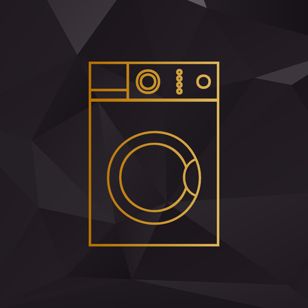 major household appliance: Washing machine sign. Golden style on background with polygons.