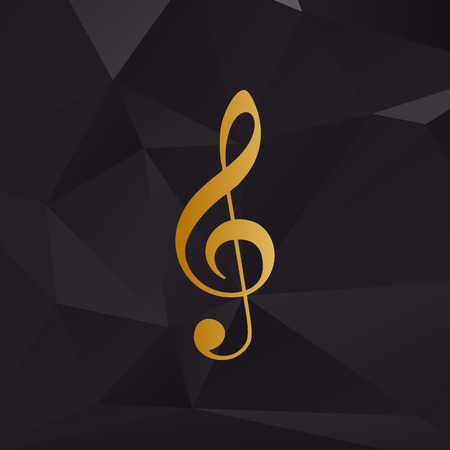 conduct: Music violin clef sign. G-clef. Treble clef. Golden style on background with polygons.