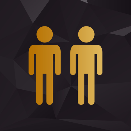 gay family: Gay family sign. Golden style on background with polygons. Illustration