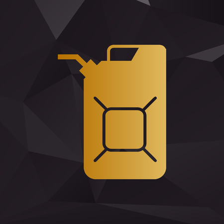 jerry: Jerrycan oil sign. Jerry can oil sign. Golden style on background with polygons. Illustration