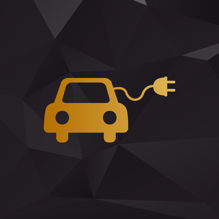 echnology: Eco electric car sign. Golden style on background with polygons.