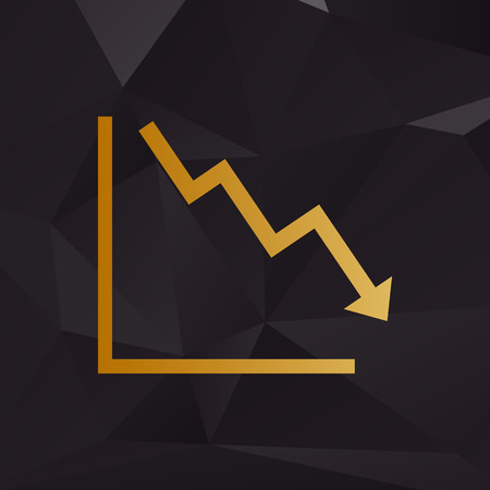 downwards: Arrow pointing downwards showing crisis. Golden style on background with polygons.