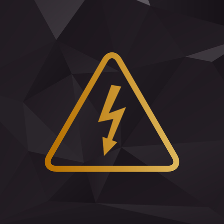 volte: High voltage danger sign. Golden style on background with polygons. Illustration