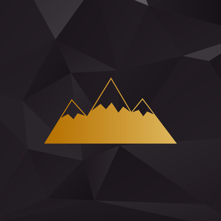 winter range: Mountain sign illustration. Golden style on background with polygons. Illustration