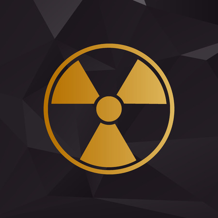 radiological: Radiation Round sign. Golden style on background with polygons.