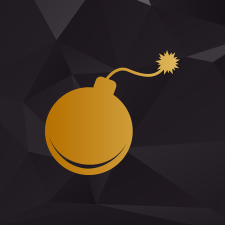 Bomb sign illustration. Golden style on background with polygons.