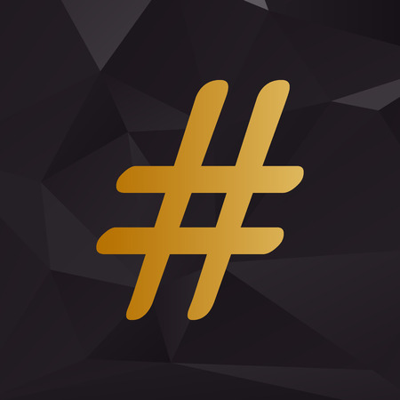 Hashtag sign illustration. Golden style on background with polygons. Illustration