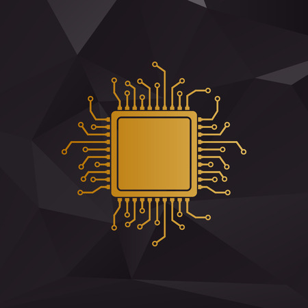 microprocessor: CPU Microprocessor illustration. Golden style on background with polygons.