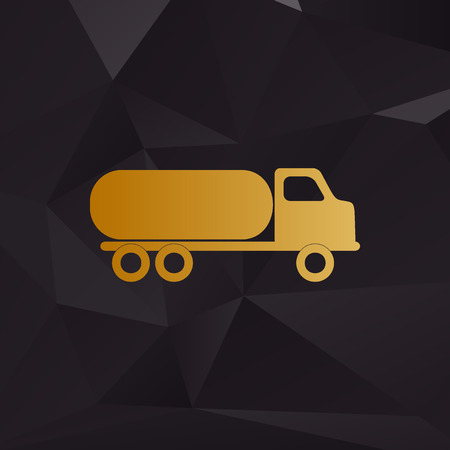 toxic substance: Car transports sign. Golden style on background with polygons.