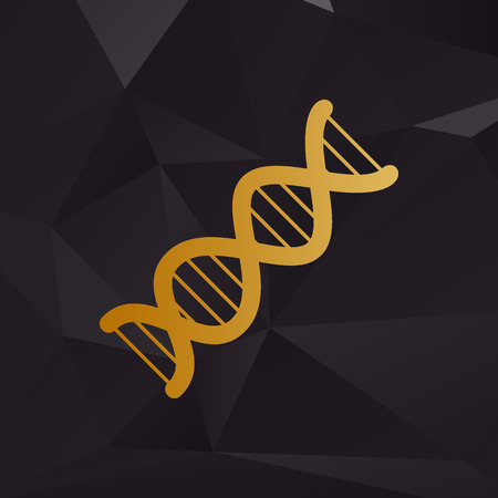 The DNA sign. Golden style on background with polygons.