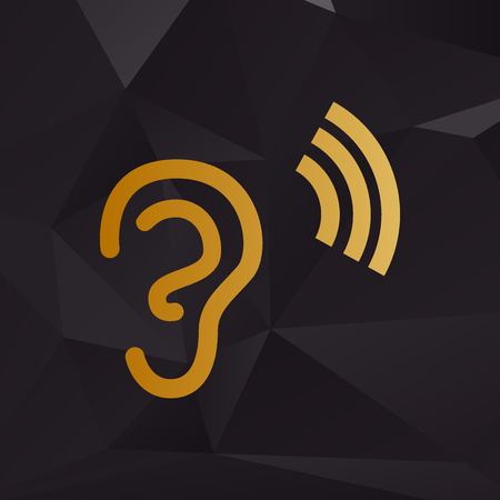 audible: Human ear sign. Golden style on background with polygons.