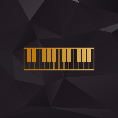 Piano Keyboard sign. Golden style on background with polygons.