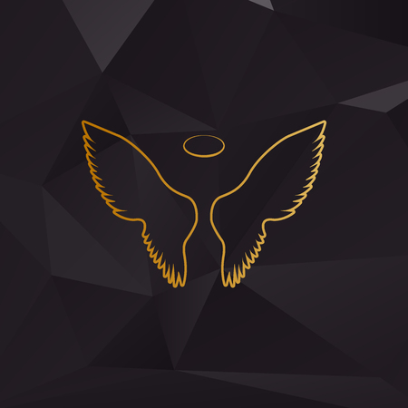Wings sign illustration. Golden style on background with polygons.