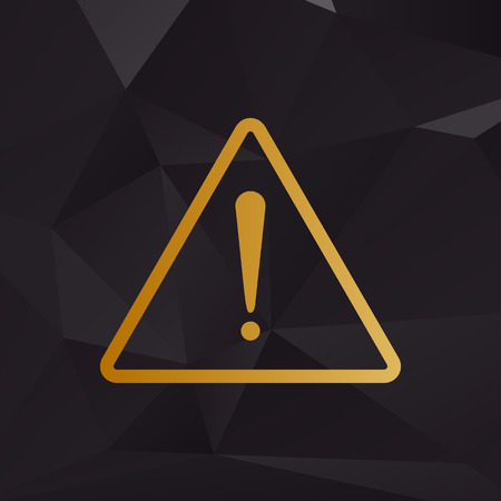 note of exclamation: Exclamation danger sign. Flat style. Golden style on background with polygons.