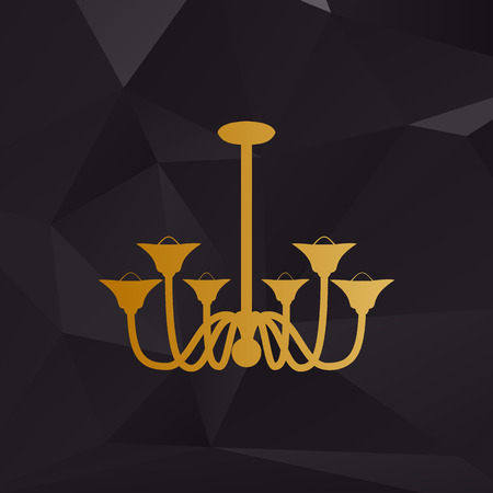 castle interior: Chandelier simple sign. Golden style on background with polygons.