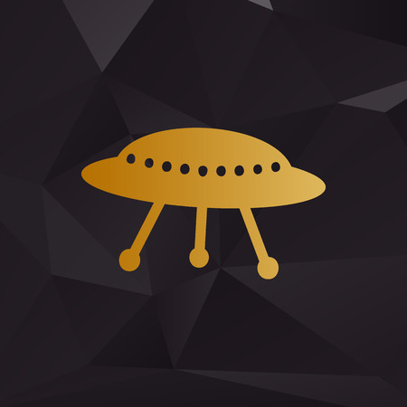 area 51: UFO simple sign. Golden style on background with polygons. Illustration