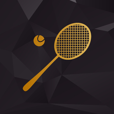 racquet: Tennis racquet sign. Golden style on background with polygons. Illustration