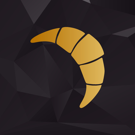 www tasty: Croissant simple sign. Golden style on background with polygons.