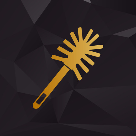 toilet brush: Toilet brush doodle. Golden style on background with polygons.