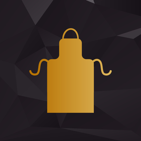 barbecue stove: Apron simple sign. Golden style on background with polygons. Illustration