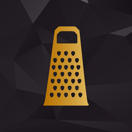 grater: Cheese grater sign. Golden style on background with polygons. Illustration