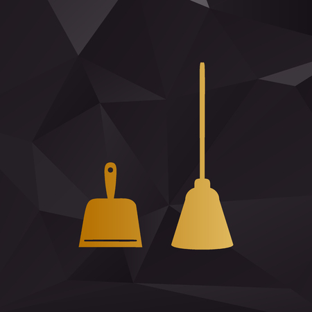 whisk broom: Dustpan vector sign. Scoop for cleaning garbage housework dustpan equipment. Golden style on background with polygons. Illustration