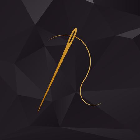Nadel mit Gewinde. Nähnadel, Nadel zum Nähen. Goldene Stil auf den Hintergrund mit Polygonen.