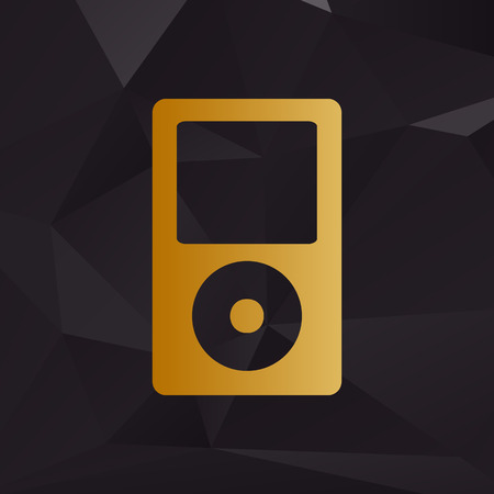 mp: Portable music device. Golden style on background with polygons.