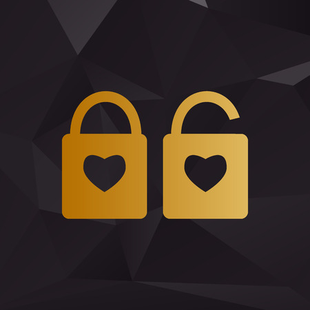 door lock love: lock sign with heart shape. A simple silhouette of the lock. Shape of a heart. Golden style on background with polygons.