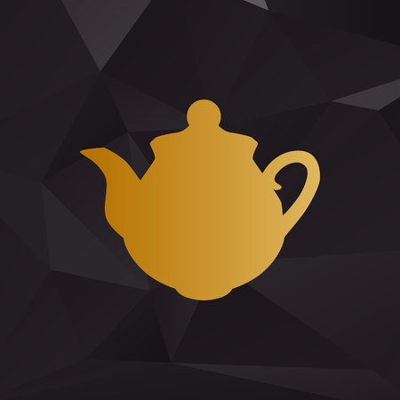 Tea maker sign. Golden style on background with polygons.